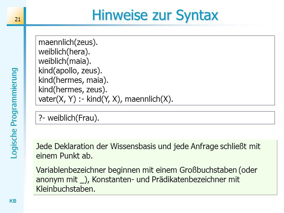 Hinweise zur Syntax
