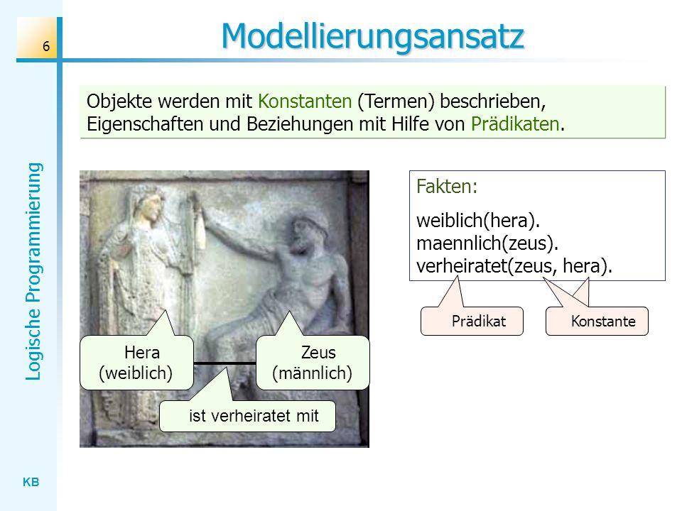 Modellierungsansatz Objekte werden mit Konstanten (Termen) beschrieben, Eigenschaften und Beziehungen mit Hilfe von Prädikaten.