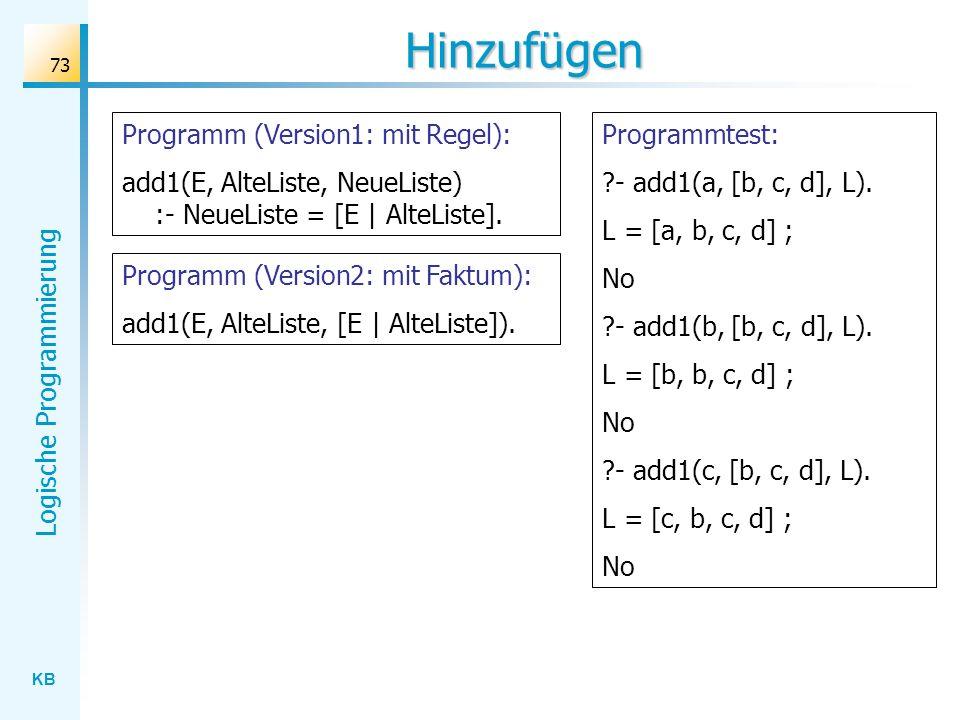 Hinzufügen Programm (Version1: mit Regel):
