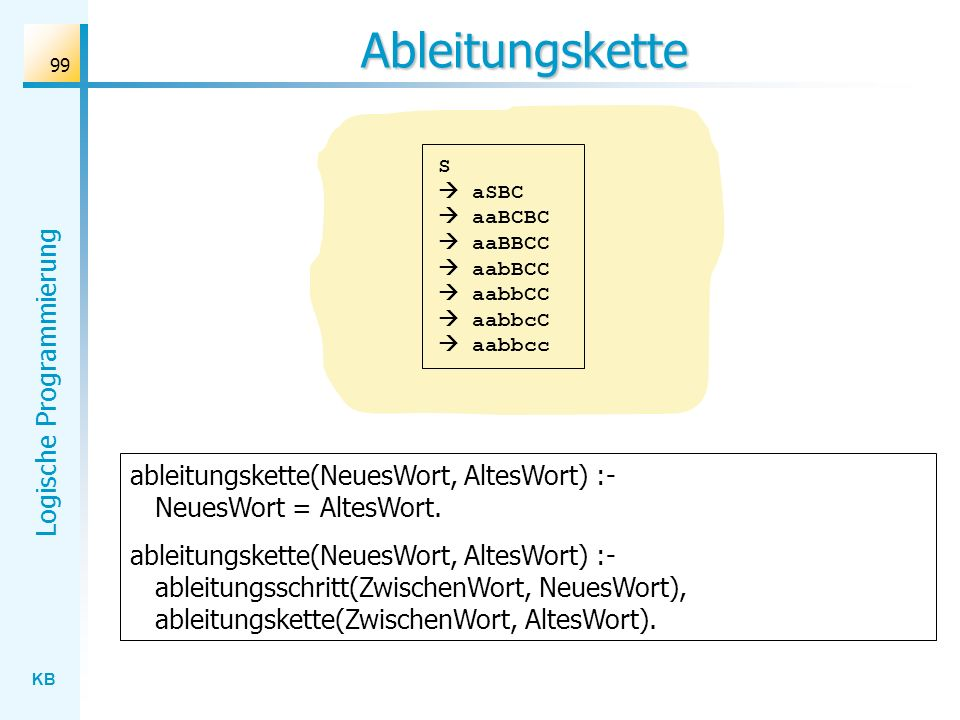 Ableitungskette S  aSBC  aaBCBC  aaBBCC  aabBCC  aabbCC  aabbcC  aabbcc. ableitungskette(NeuesWort, AltesWort) :- NeuesWort = AltesWort.