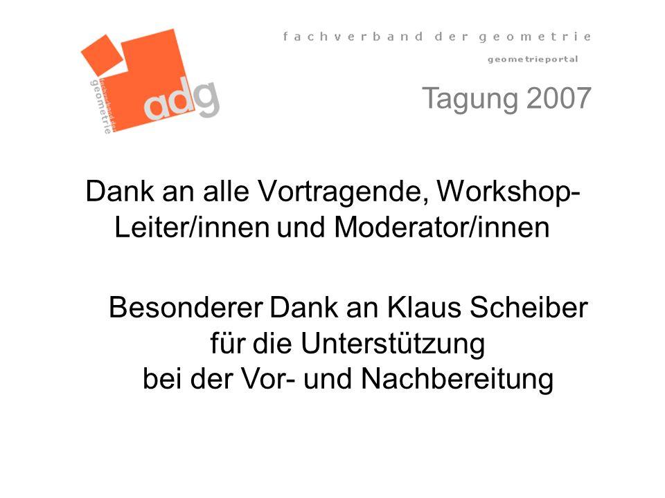 Dank an alle Vortragende, Workshop-Leiter/innen und Moderator/innen