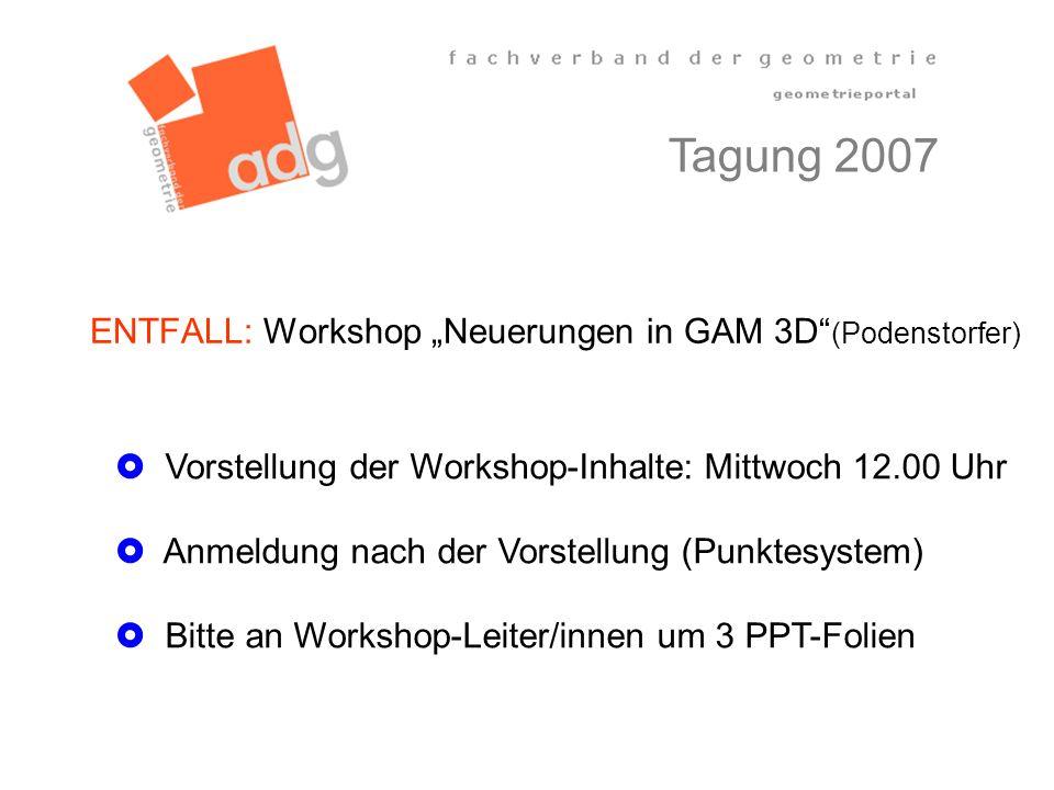 """ENTFALL: Workshop """"Neuerungen in GAM 3D (Podenstorfer)"""