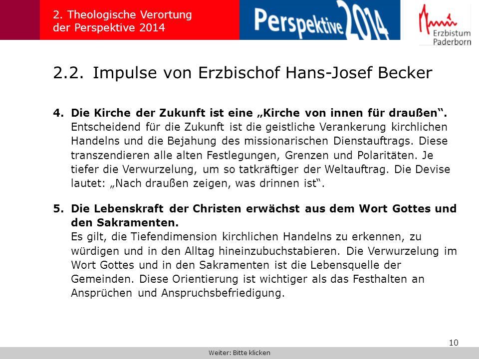 2.2. Impulse von Erzbischof Hans-Josef Becker