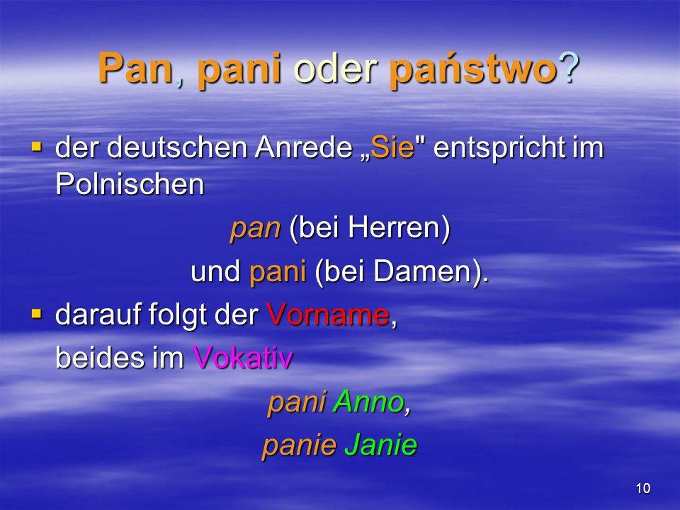 """Pan, pani oder państwo der deutschen Anrede """"Sie entspricht im Polnischen. pan (bei Herren) und pani (bei Damen)."""