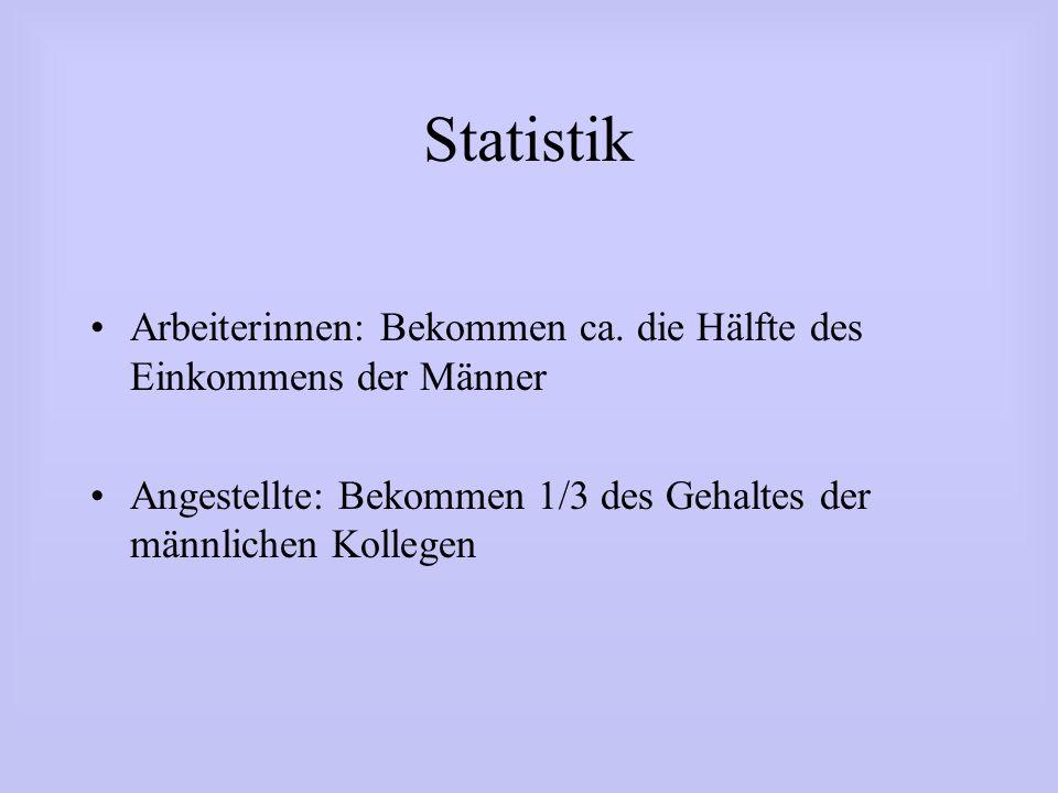Statistik Arbeiterinnen: Bekommen ca. die Hälfte des Einkommens der Männer.