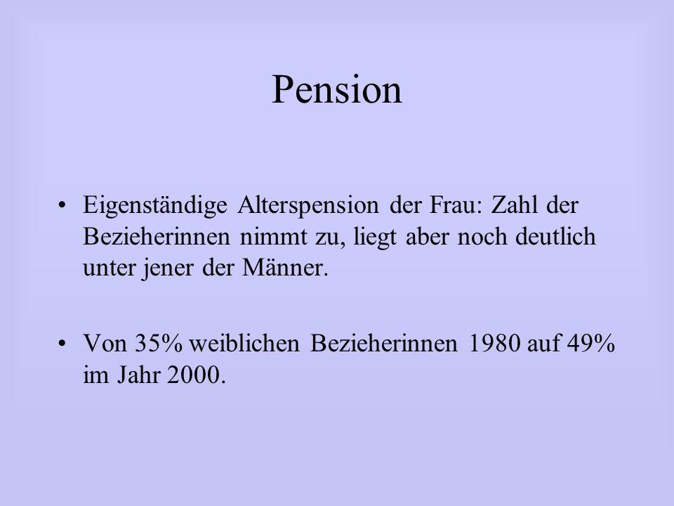 Pension Eigenständige Alterspension der Frau: Zahl der Bezieherinnen nimmt zu, liegt aber noch deutlich unter jener der Männer.