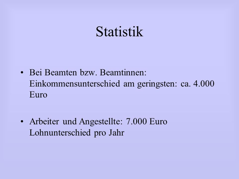 StatistikBei Beamten bzw. Beamtinnen: Einkommensunterschied am geringsten: ca. 4.000 Euro.