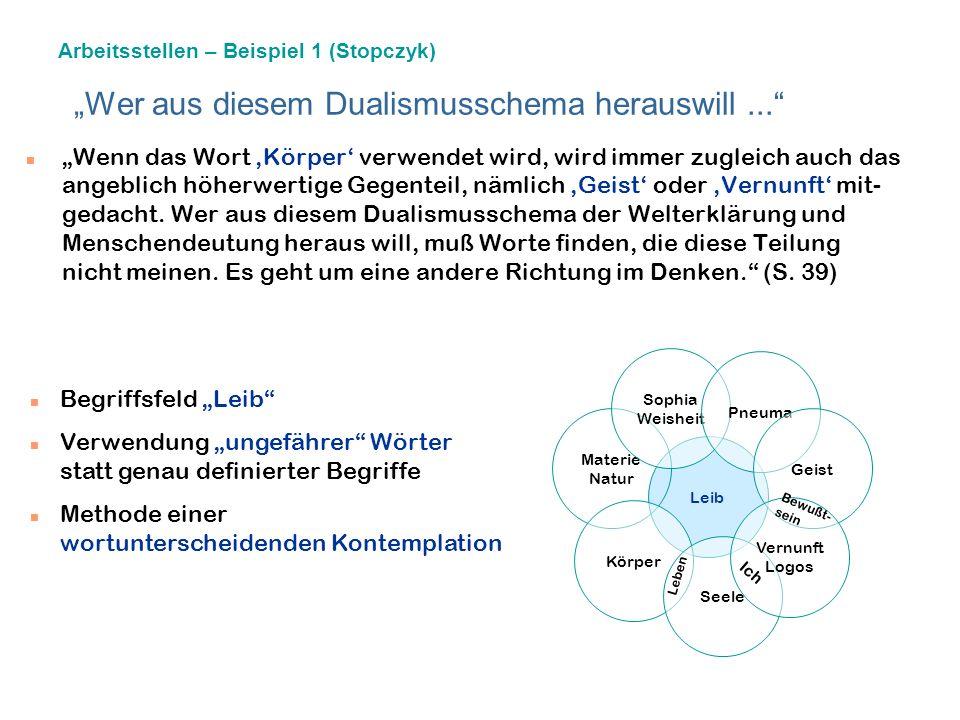 """""""Wer aus diesem Dualismusschema herauswill ..."""