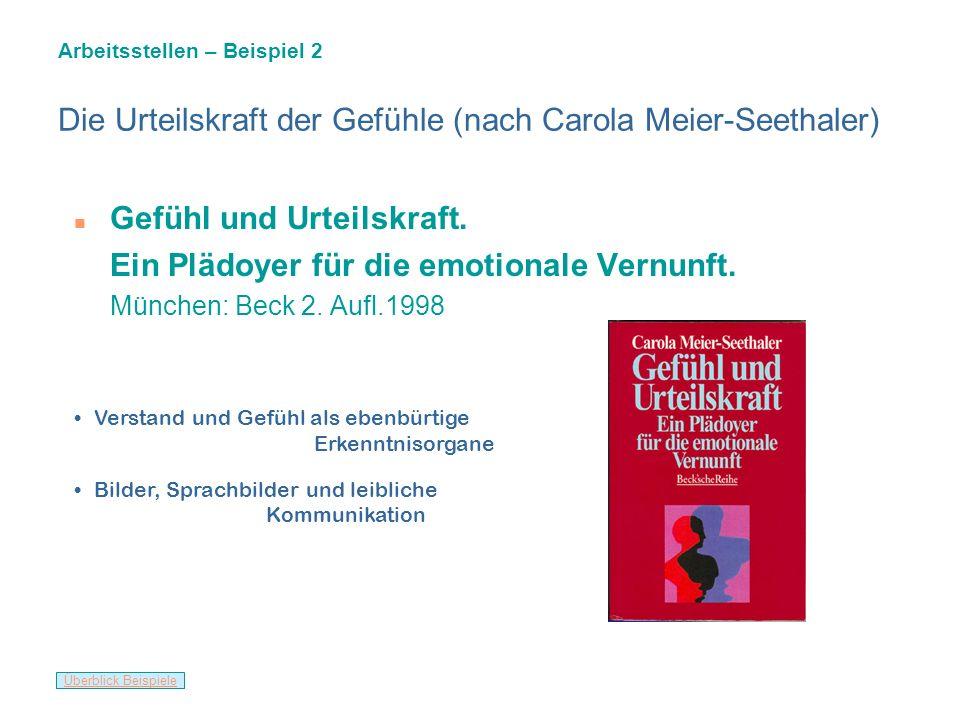 Die Urteilskraft der Gefühle (nach Carola Meier-Seethaler)