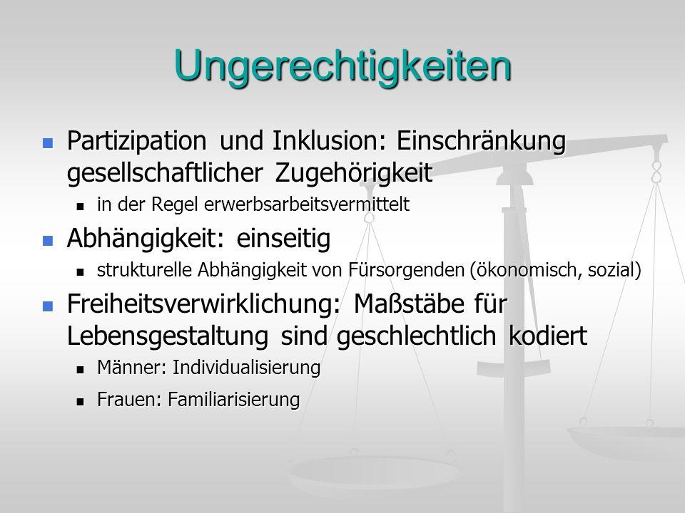 Ungerechtigkeiten Partizipation und Inklusion: Einschränkung gesellschaftlicher Zugehörigkeit. in der Regel erwerbsarbeitsvermittelt.