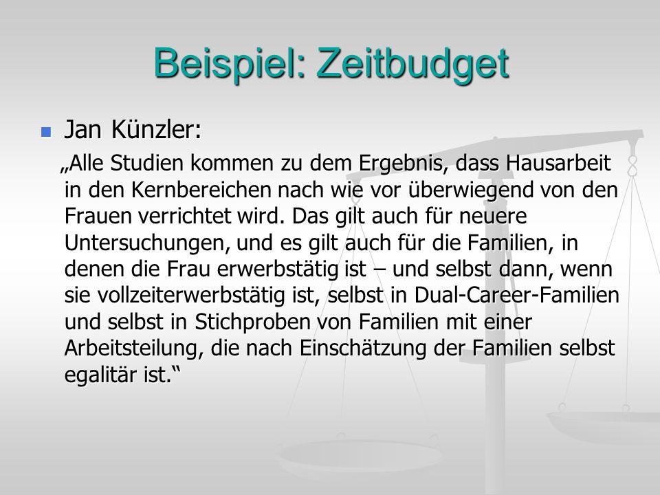 Beispiel: Zeitbudget Jan Künzler: