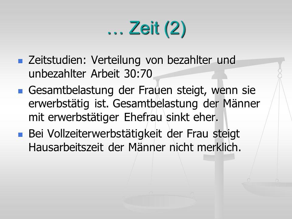 … Zeit (2) Zeitstudien: Verteilung von bezahlter und unbezahlter Arbeit 30:70.