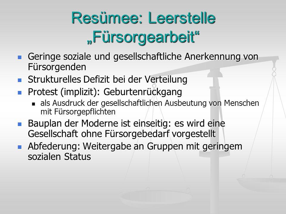 """Resümee: Leerstelle """"Fürsorgearbeit"""