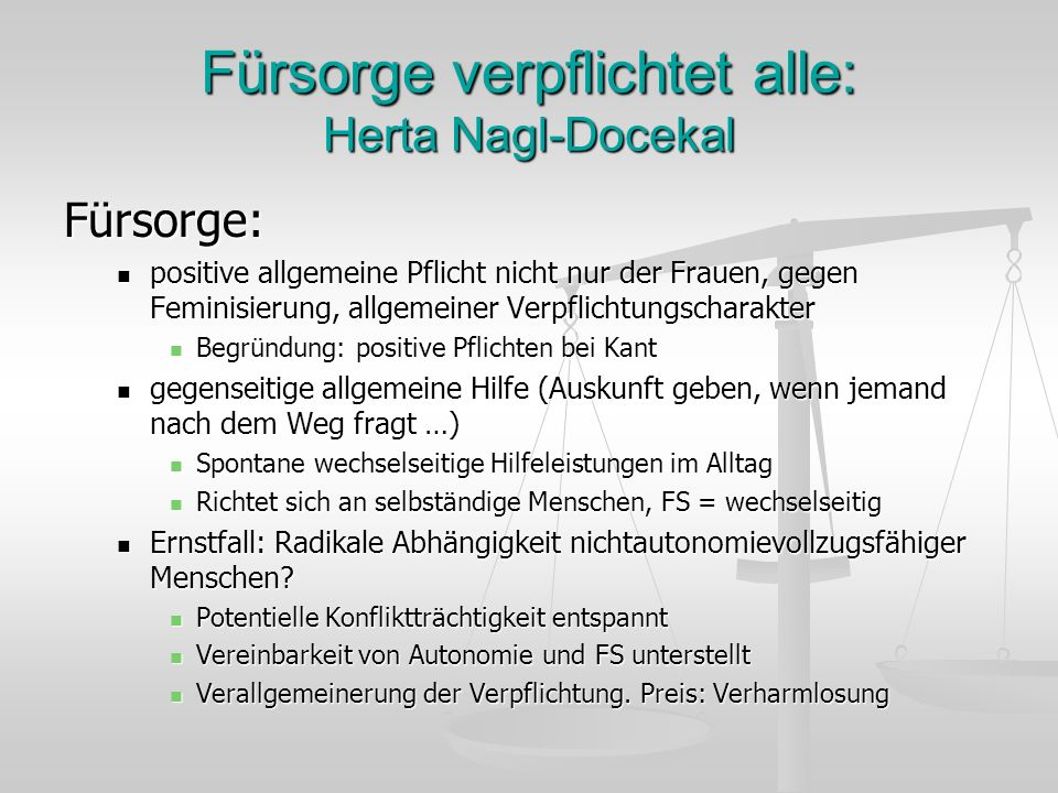 Fürsorge verpflichtet alle: Herta Nagl-Docekal