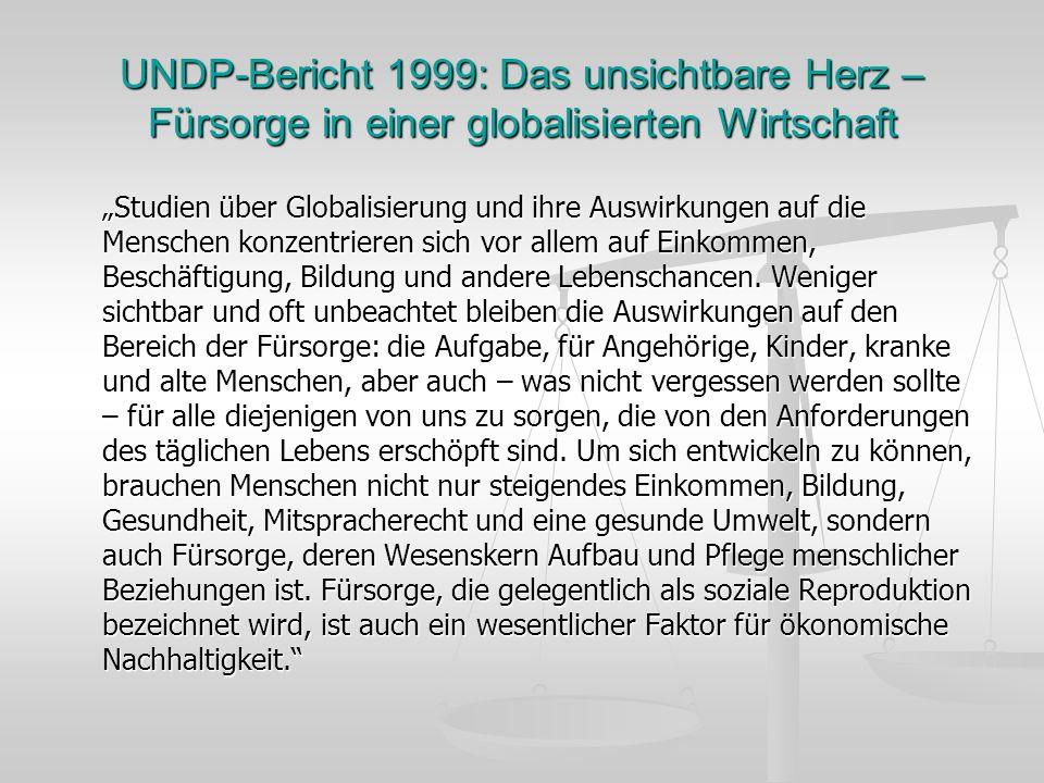 UNDP-Bericht 1999: Das unsichtbare Herz – Fürsorge in einer globalisierten Wirtschaft