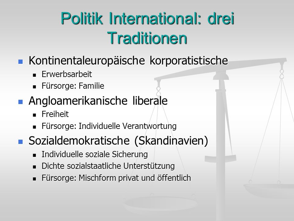 Politik International: drei Traditionen