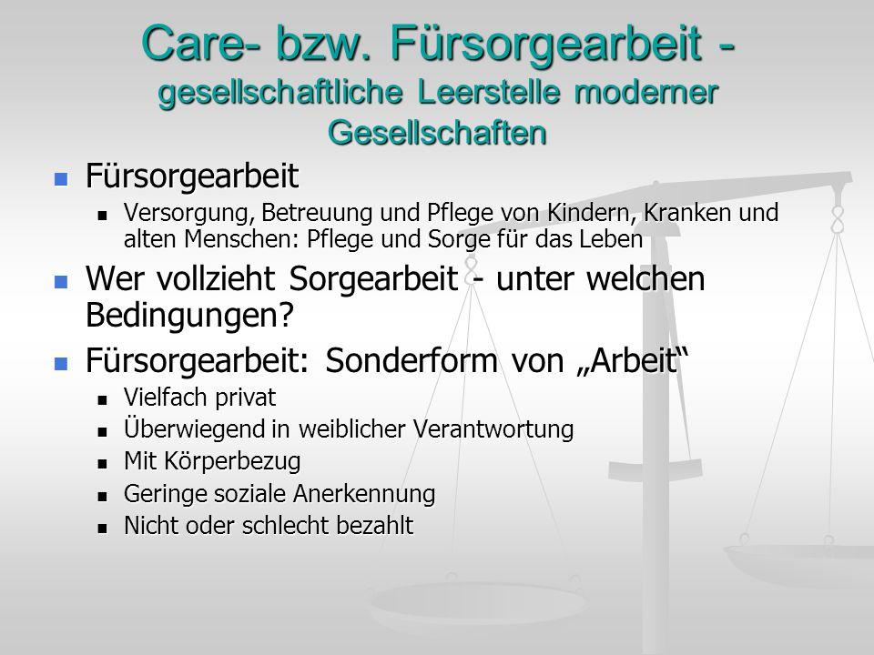 Care- bzw. Fürsorgearbeit - gesellschaftliche Leerstelle moderner Gesellschaften