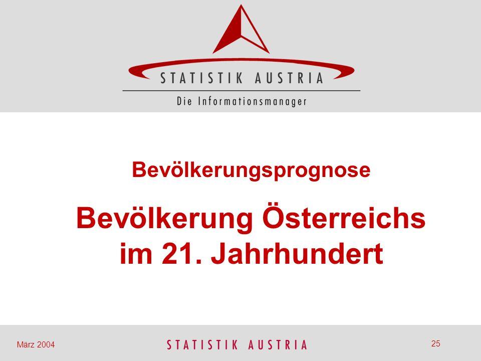 Bevölkerungsprognose Bevölkerung Österreichs im 21. Jahrhundert