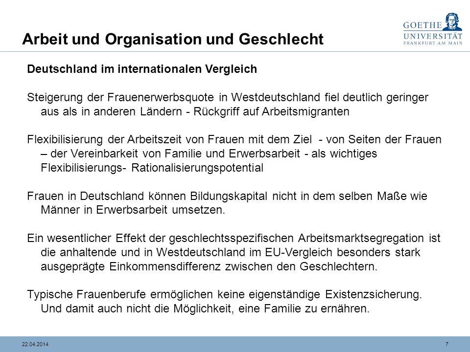 Arbeit und Organisation und Geschlecht