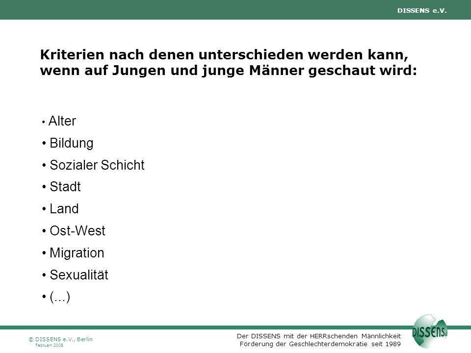 DISSENS e.V., Berlin Oktober 2007. Kriterien nach denen unterschieden werden kann, wenn auf Jungen und junge Männer geschaut wird: