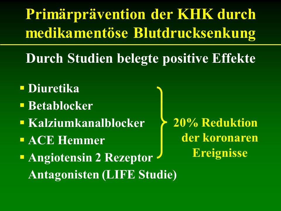 Primärprävention der KHK durch medikamentöse Blutdrucksenkung
