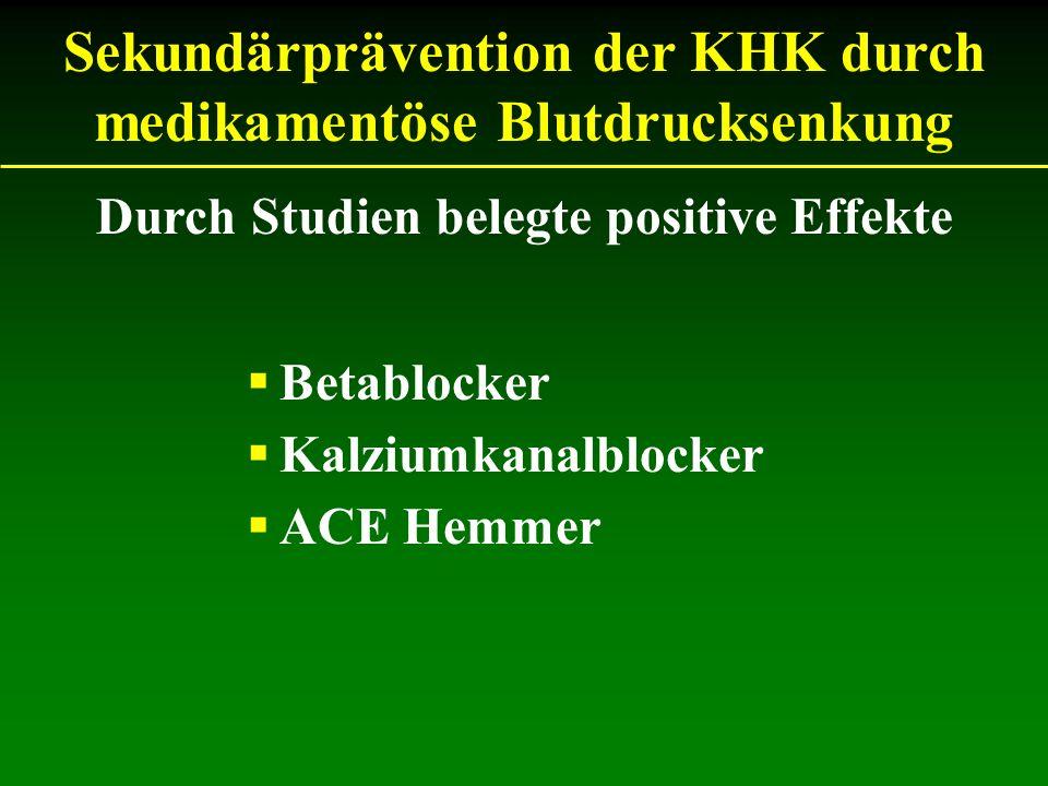 Sekundärprävention der KHK durch medikamentöse Blutdrucksenkung