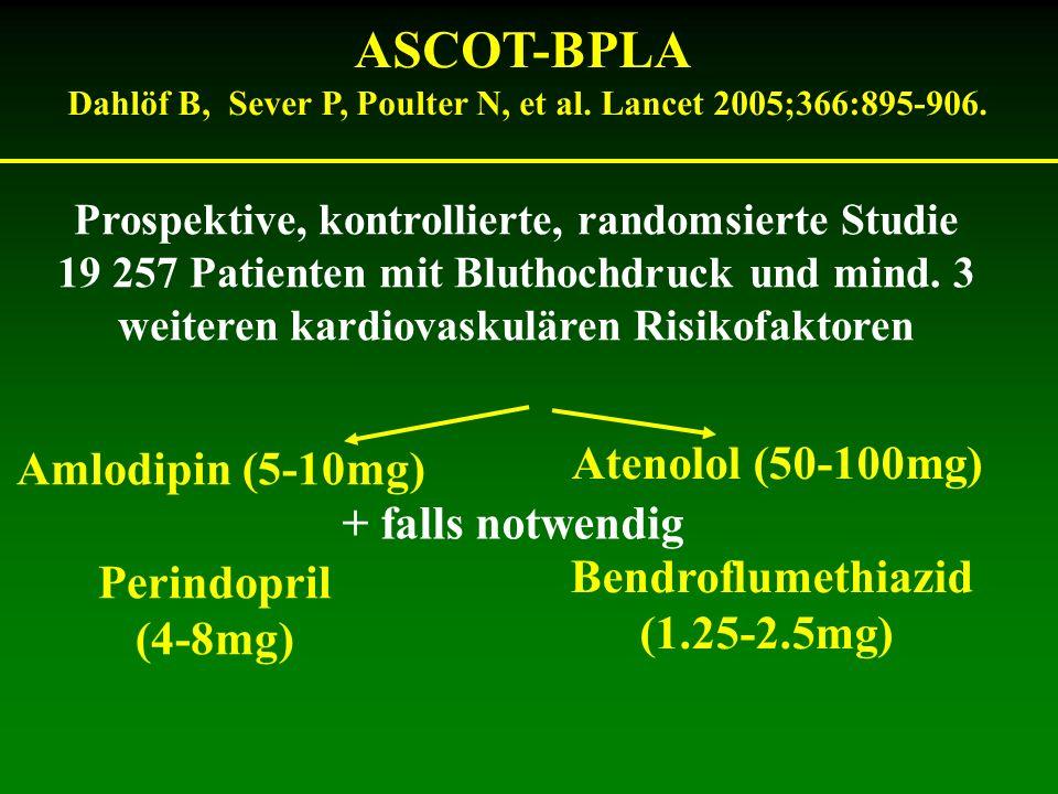 ASCOT-BPLA Atenolol (50-100mg) Amlodipin (5-10mg) + falls notwendig