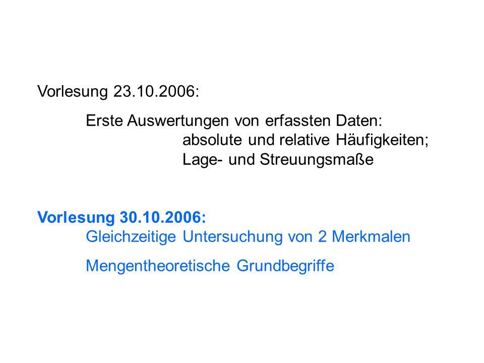 Vorlesung 23.10.2006: Erste Auswertungen von erfassten Daten: absolute und relative Häufigkeiten; Lage- und Streuungsmaße.