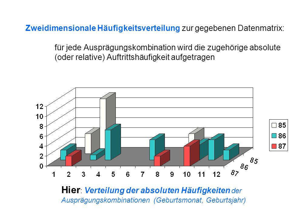Zweidimensionale Häufigkeitsverteilung zur gegebenen Datenmatrix: