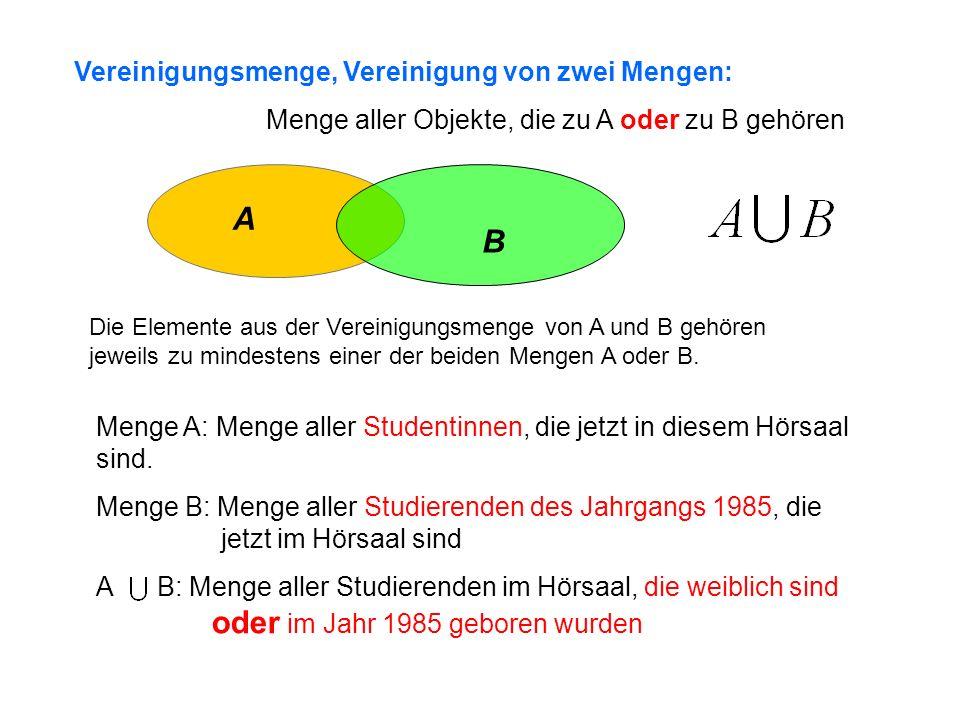A B Vereinigungsmenge, Vereinigung von zwei Mengen: