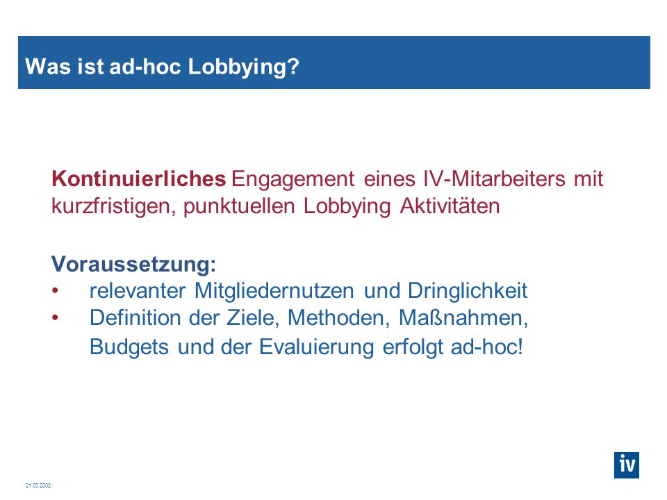 Was ist ad-hoc Lobbying