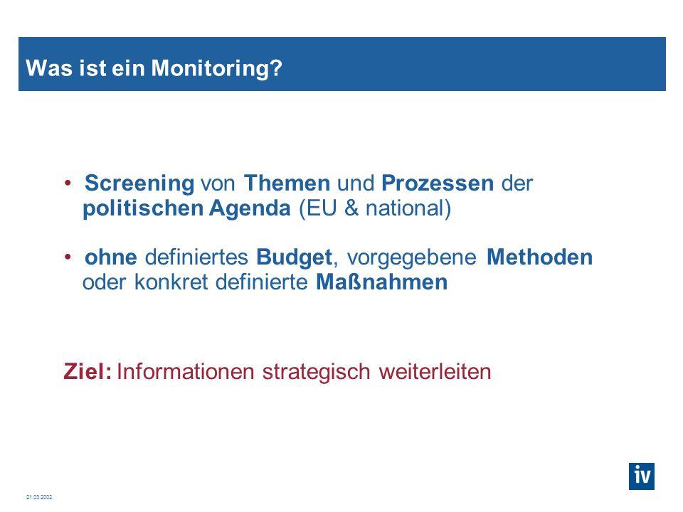 Was ist ein Monitoring Screening von Themen und Prozessen der. politischen Agenda (EU & national)