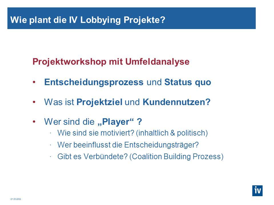 Wie plant die IV Lobbying Projekte