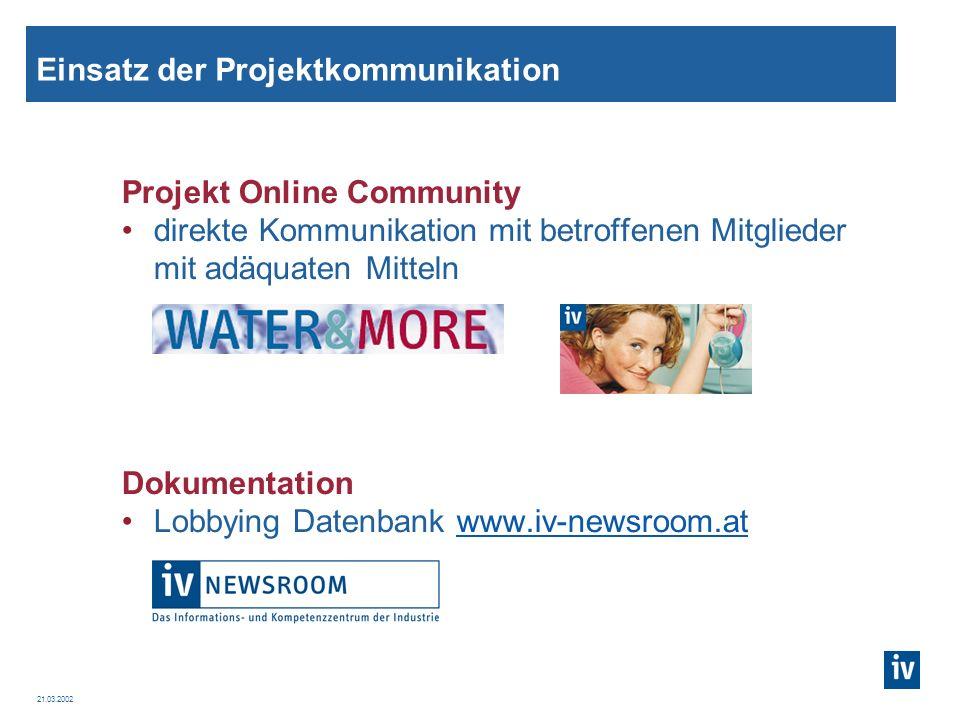 Einsatz der Projektkommunikation