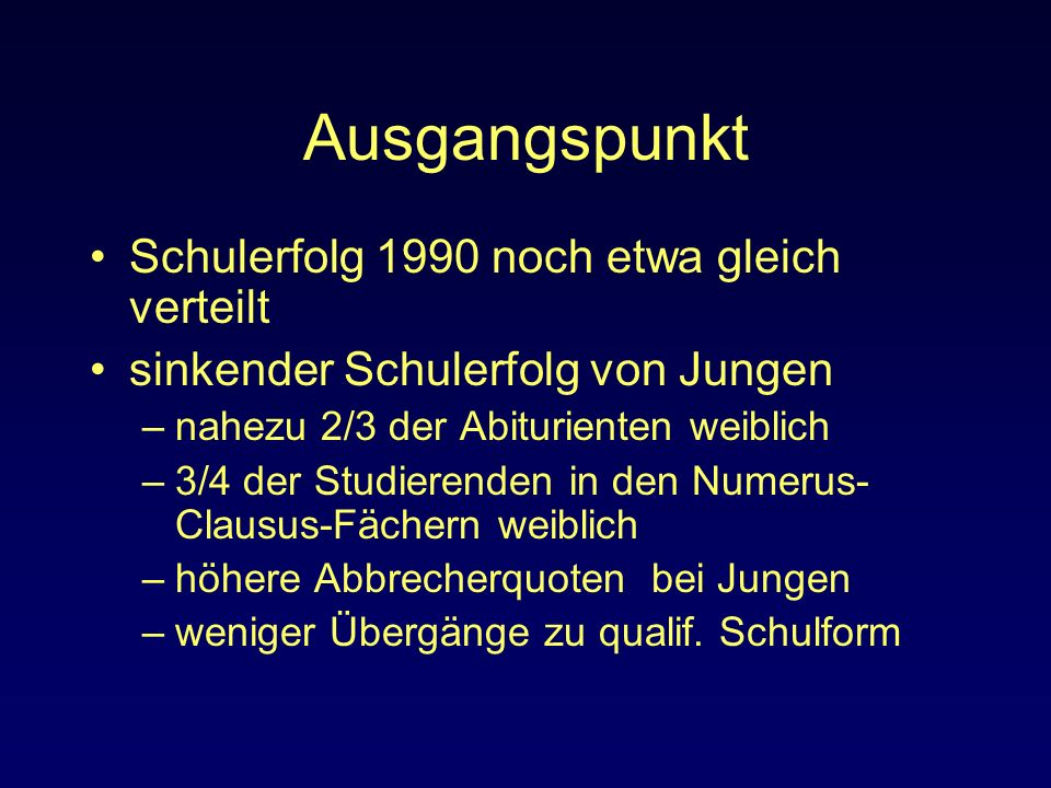 Ausgangspunkt Schulerfolg 1990 noch etwa gleich verteilt