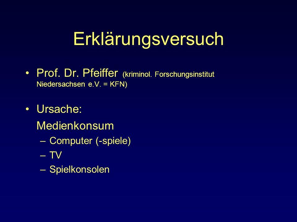 Erklärungsversuch Prof. Dr. Pfeiffer (kriminol. Forschungsinstitut Niedersachsen e.V. = KFN) Ursache: