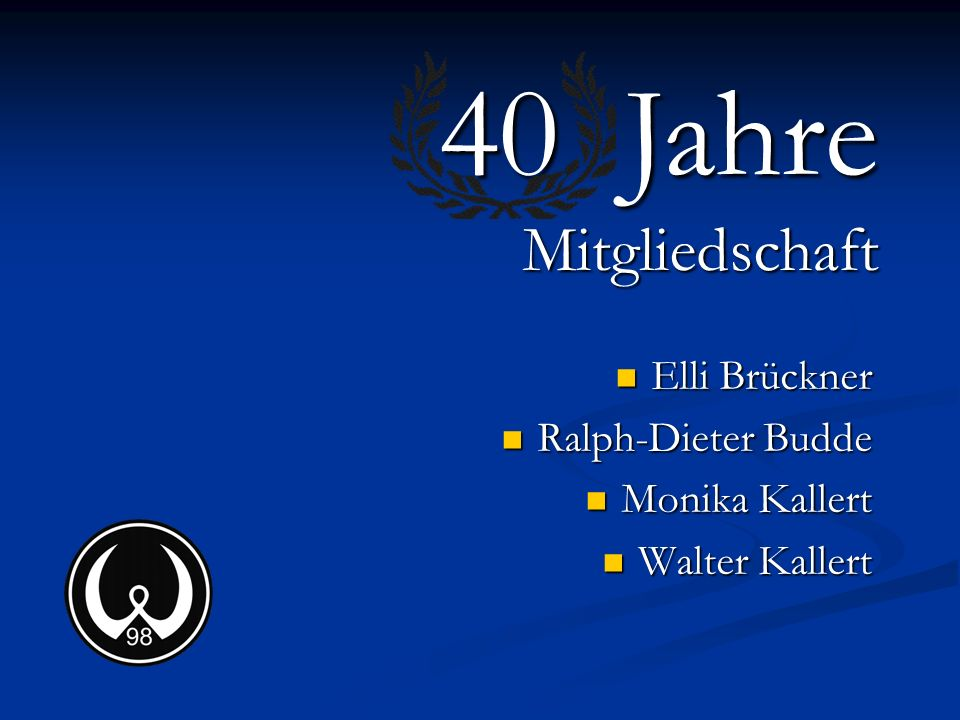 40 Jahre Mitgliedschaft Elli Brückner Ralph-Dieter Budde