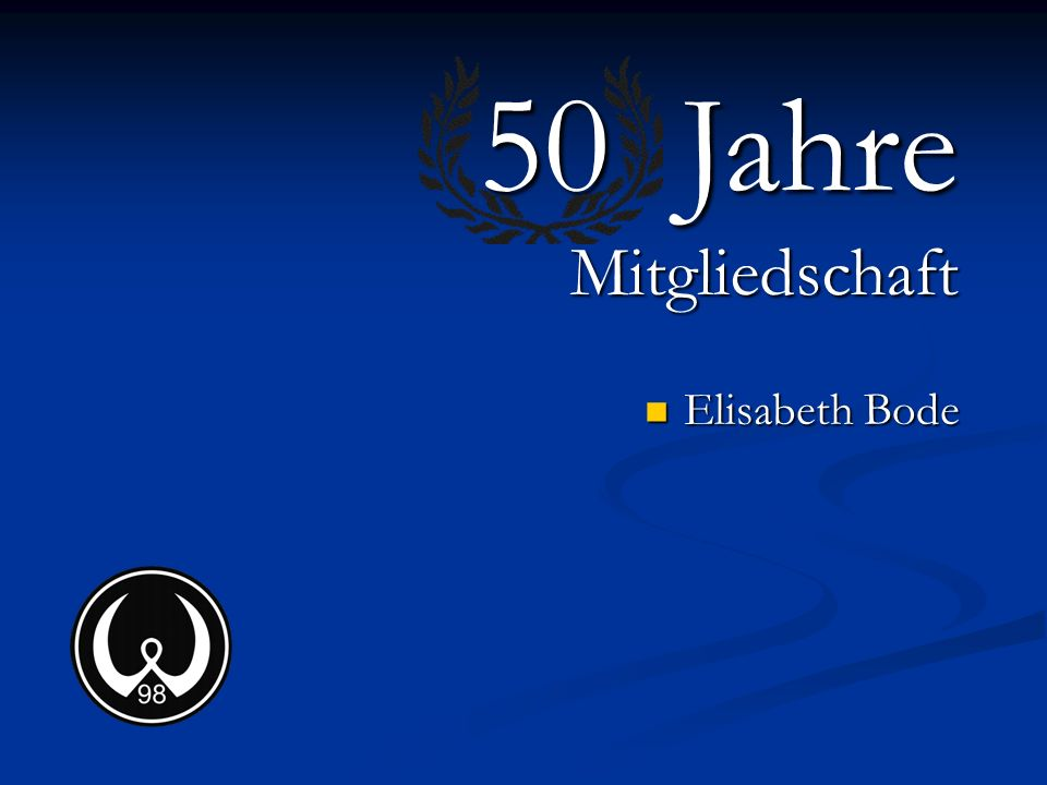 50 Jahre Mitgliedschaft Elisabeth Bode
