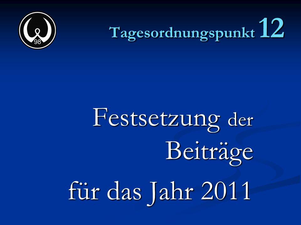 Festsetzung der Beiträge für das Jahr 2011