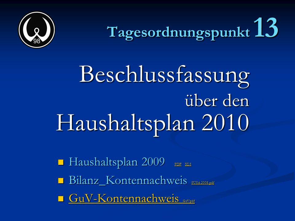 Beschlussfassung Haushaltsplan 2010 über den Tagesordnungspunkt 13