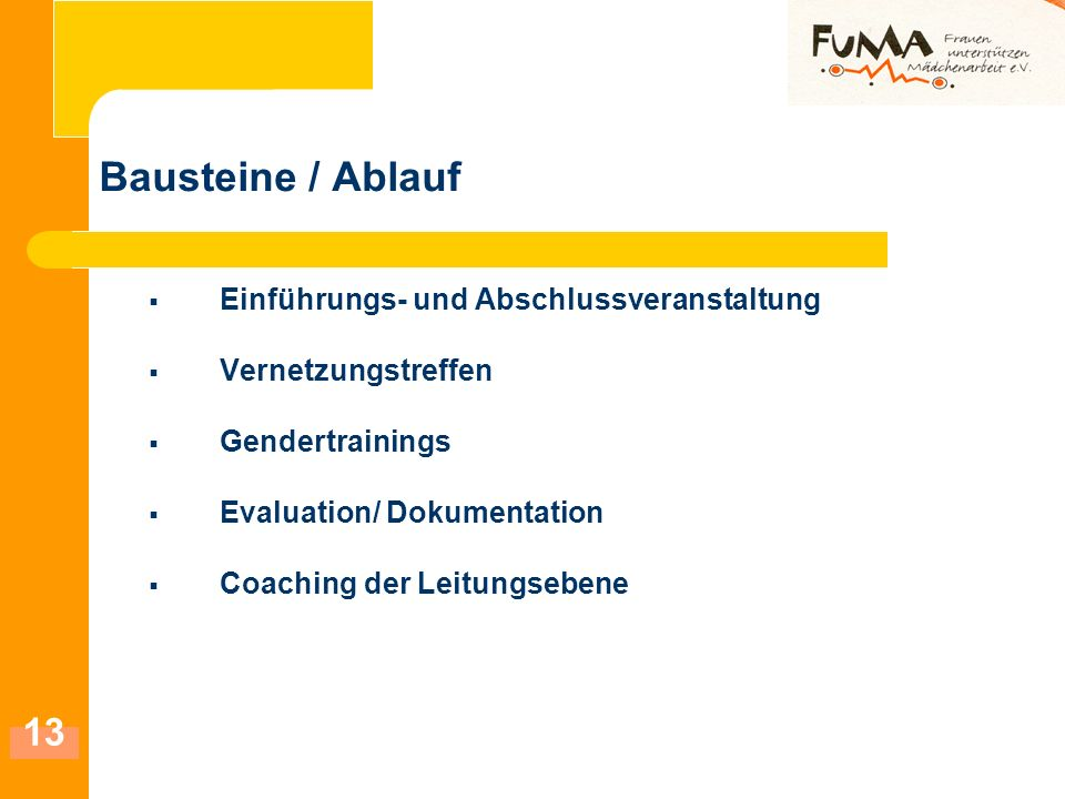 Bausteine / Ablauf Einführungs- und Abschlussveranstaltung
