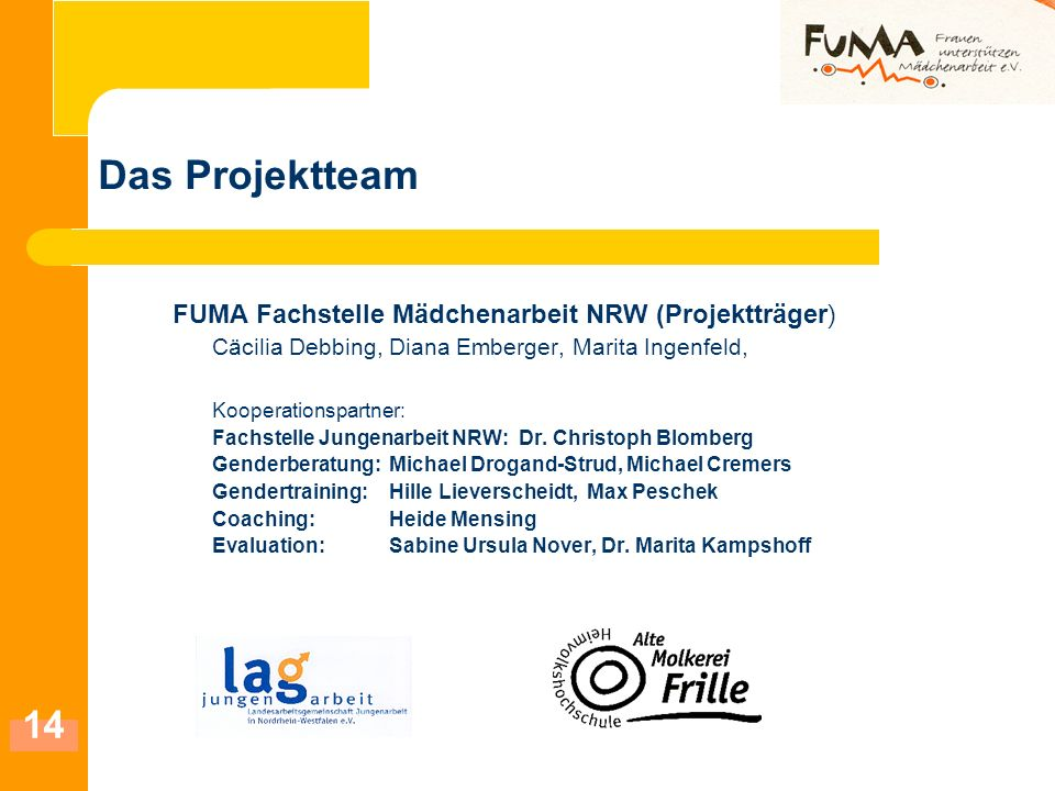 Das Projektteam FUMA Fachstelle Mädchenarbeit NRW (Projektträger)