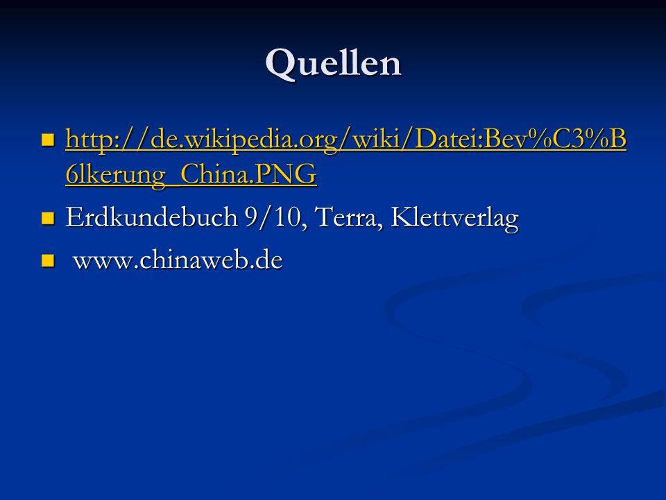 Quellen http://de.wikipedia.org/wiki/Datei:Bev%C3%B6lkerung_China.PNG
