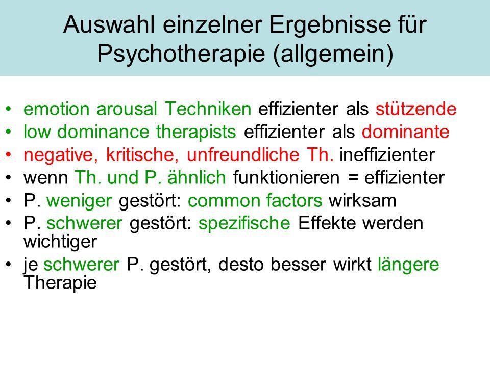 Auswahl einzelner Ergebnisse für Psychotherapie (allgemein)