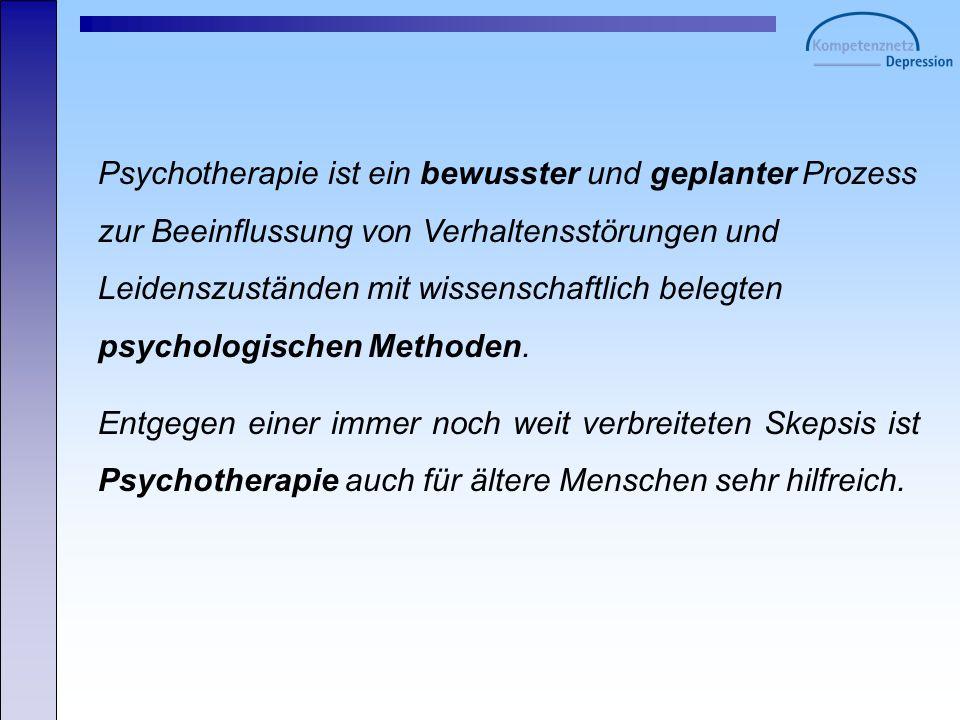 Psychotherapie ist ein bewusster und geplanter Prozess zur Beeinflussung von Verhaltensstörungen und Leidenszuständen mit wissenschaftlich belegten psychologischen Methoden.