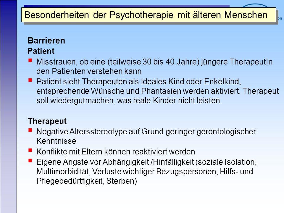 Besonderheiten der Psychotherapie mit älteren Menschen