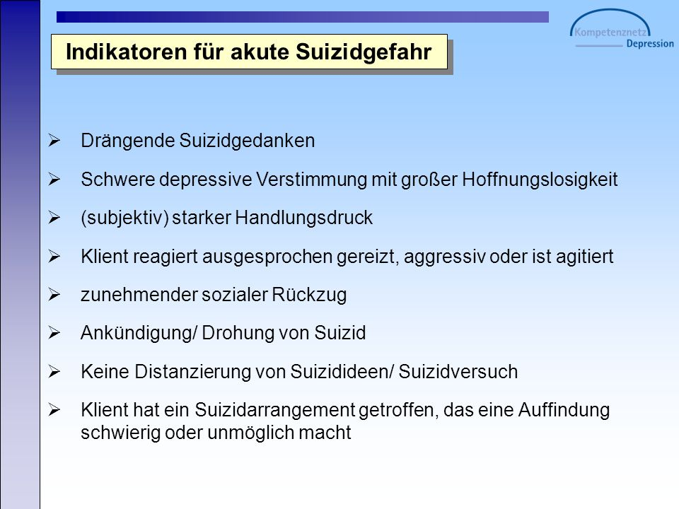 Indikatoren für akute Suizidgefahr