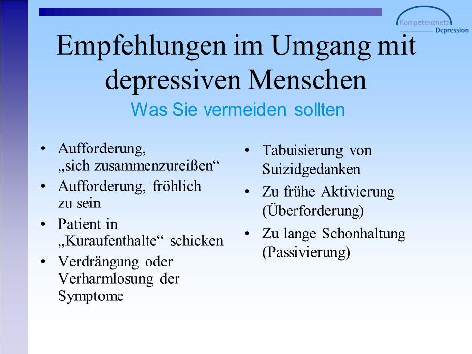 Empfehlungen im Umgang mit depressiven Menschen