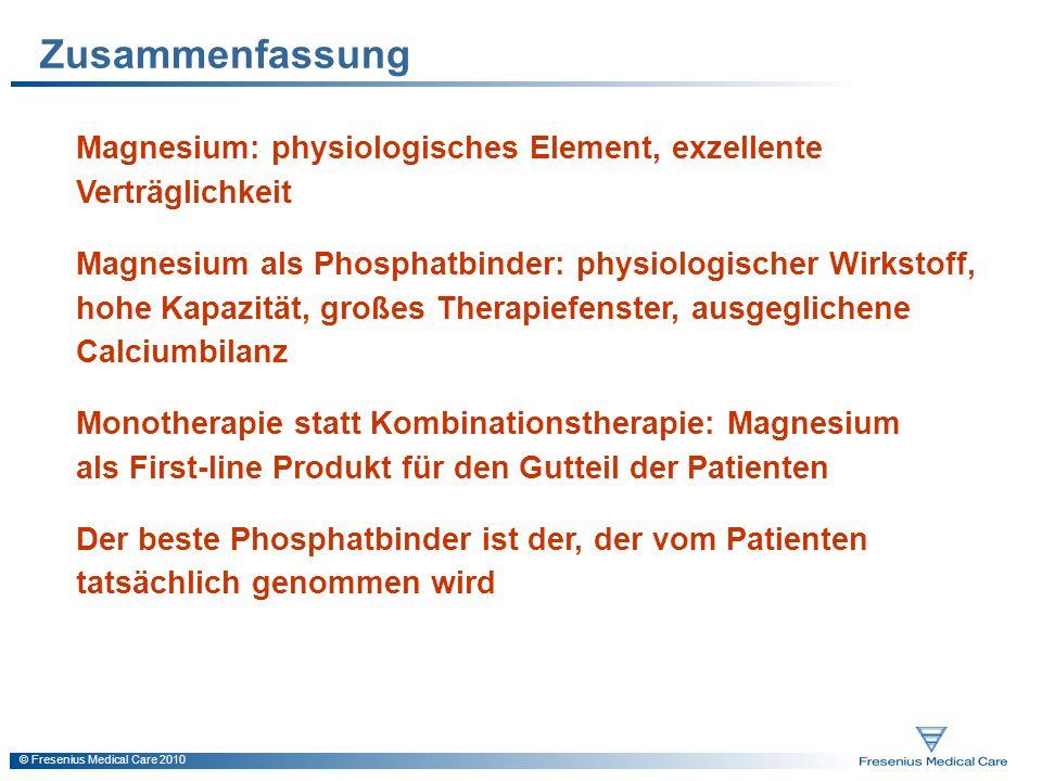 Zusammenfassung Magnesium: physiologisches Element, exzellente Verträglichkeit.