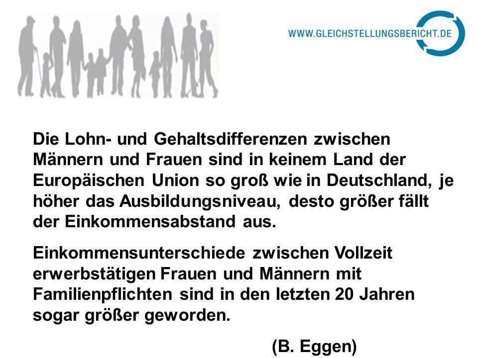Die Lohn- und Gehaltsdifferenzen zwischen Männern und Frauen sind in keinem Land der Europäischen Union so groß wie in Deutschland, je höher das Ausbildungsniveau, desto größer fällt der Einkommensabstand aus.